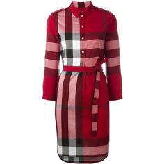 Burberry Kelsy Dress ($465) ❤ liked on Polyvore featuring dresses, bordeaux, burberry, check print dress, checked shirt dress, red cotton dress and checkered dress