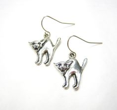 SCAREDY CAT EARRINGS 925 Silver Dangles French by 3PetuniaPlace