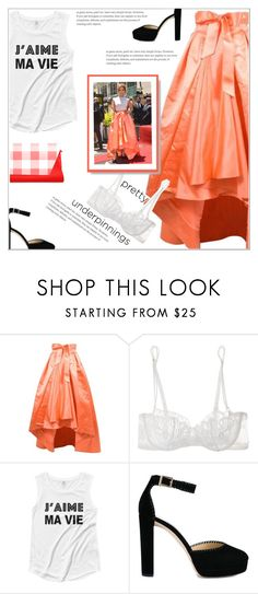 """Jennifer Lopez's look"" by atelier-briella ❤ liked on Polyvore featuring Christian Dior, La Perla, Jennifer Lopez, Jimmy Choo, chic, pretty, coral and prettyunderpinnings"