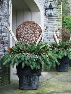 Use a wreath and add additional greens and woven orb. Sarah Richardson