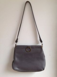 FREE SHIPPING!!  Vintage Medium Gray Vinyl Purse with Hinged Opening on Etsy, $15.00