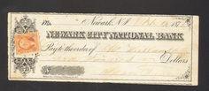 1871 Bank Check Newark City National Bank NJ Two Cent Inter Rev Stamp