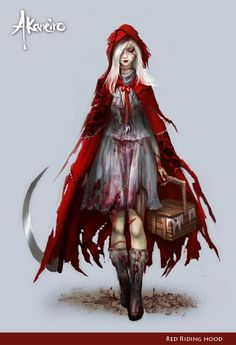f Rogue Assassin killer farmland hills forest scythe basket red riding hood Manga Effrayant - petit chaperon rouge Fantasy, Demon Hunter, Red Riding Hood Wolf, Image, Art, Anime, Fairy Tales, Alice In Wonderland