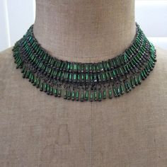 Sexy Vintage green glass and black metal choker for victorian, steampunk and goth looks