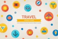 Check out Round travel icons by miumiu on Creative Market