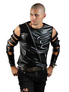 Cutted leather jacchet for men. Unique design. - Geaca taiata pentru barbati. Geaca de club din piele eco #leather #jachet #style #men #clubbing #unqiue
