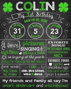 St Patricks Day First Birthday Chalkboard by ChalkingItUpBoards