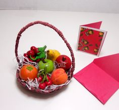 "18"" Doll Food Fruit Bowl Basket Apple, Orange, Nectarine, Strawberries, Pear on Etsy, $58.00"