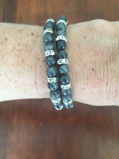 IV Bracelet de perles type oeil de chat et Swarovski