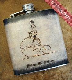 Custom Stainless Steel & Leather Flask - Dane on Bike