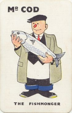 inch Canvas Print (other products available) - Kay Snap - Mr Cod the Fishmonger. <br> - Image supplied by Mary Evans Prints Online - Box Canvas Print made in the USA Fine Art Prints, Framed Prints, Canvas Prints, Illustrations, Graphic Illustration, Pop Art, Fish Art, Art Design, Poster Size Prints