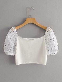 Pink Laser Cutout Off The Shoulder Bell Sleeve Top Crop Top Outfits, Cute Outfits, Diy Fashion Videos, Tops Bonitos, Teen Fashion Outfits, Polka Dot Print, Crop Shirt, Couture Fashion, Aesthetic Clothes