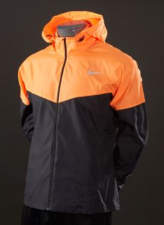 Nike Vapor Jacket - Mens Running Clothing - Anthracite-Atomic Orange-Reflective Silver