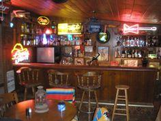western bar w/ poker tables, lanterns, etc