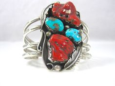 Navajo Made Sterling Silver ESB B STAR Coral Turquoise Cuff Bracelet 6.5 #ESB