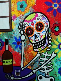 Tequila Night Day of the Dead Painting