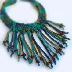 Crochet Fringe Choker With Wood Beads in Aquamarine, Bright Turquoise, Royal Blue and Dark Olive Green, Taupe.