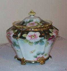 Hand Painted Nippon Porcelain Biscuit Cracker Jar Flowers Gold Moriage Vintage 1910's.