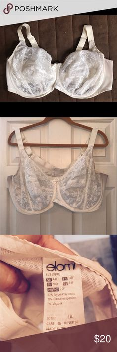 Eloma Bra, White, Size 44F, lightly worn, underwir Elomi Bra, White, Size 44 F, underwire, gently used Elomi Intimates & Sleepwear Bras