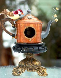 Birdhouse Garden Art Grandeur  teapot by QueenBeeAndMrMan on Etsy