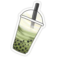 """""""Matcha Latte BubbleTea"""" Stickers by PeachPantone Food Stickers, Kawaii Stickers, Printable Stickers, Cute Stickers, Bubble Tea Shop, Bubble Milk Tea, Tea Wallpaper, Marble Acrylic Nails, Food Art Painting"""