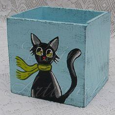 Primitive Box Funky Folk Art Black Cat Shabby Light Blue Paint