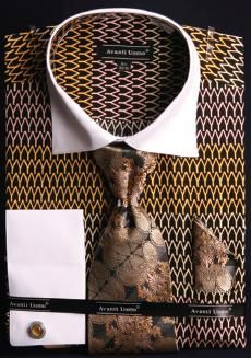Avanti Uomo Black / Gold / Pink Pointed Two Tone Design Cotton Shirt / Tie / Hanky Set With Free Cufflinks Upscale Menswear, Dress Shirt And Tie, French Cuff Dress Shirts, Blue Bodies, Pink And Gold, Black Gold, Black White, Well Dressed Men, Cufflinks
