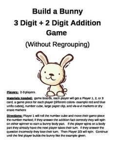 Build a Bunny 3 + 2 Digit Addition Without Regrouping Game
