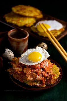Kimchi is one of my food addictions! Quail Eggs, Korean Kimchi and Eggless and Flourless Potato Pancakes recipe.