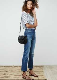 Stripe shirt, straight-leg blue jeans and leather thong sandals | @styleminimalism