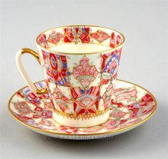 """Lomonosov """"Rose Pattern"""" Cup & Saucer, hand painted, 22k gilt, designed by A. Vorobyevsky"""