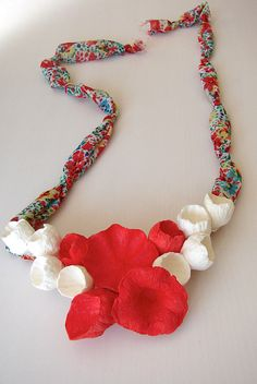 Red White Statement Necklace Paper flowers necklace Paper