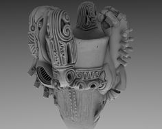 3D scanned real Jomon Doki + Japanese sub cultural shape.  Showing the connection between ancient and contemporary.  Will be 3D printed. by Digital Artist Taketo Kobayashi