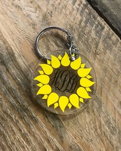 Excited to share this item from my shop: Sunflower Monogrammed Acrylic Circle Keychain, Monogram Keychain, Personalized Keychain, Key Fob, Sunflower keychain