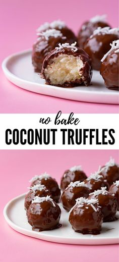 Chocolate Coconut Truffles Delicious homemade Chocolate Coconut Truffles made from scratch. These gorgeous coconut truffles are made with sweetened condensed milk and dipped in smooth milk chocolate. No Bake Truffles, Peanut Butter Truffles, Cake Truffles, Chocolate Truffles, Chocolate Truffle Recipe, Peppermint Chocolate, Coconut Chocolate, Healthy Chocolate, Coconut Bonbons Recipe