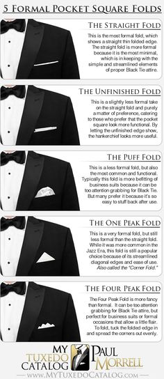 5 formal pocket square folds