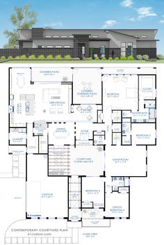 4231 sq.ft. contemporary courtyard house plan with a central front courtyard, open greatroom with wetbar, large kitchen, and formal parlor with a fireplace.