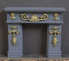 HALF  SCALE ~   FIREPLACE ~Jim Coates ~Dollhouse~Gold Detail ~ 1/24 ~ Room Box