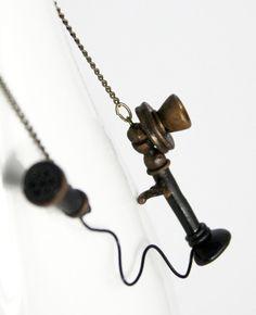Hello Antique Phone Necklace handmade jewelry by #NeverlandJewelry