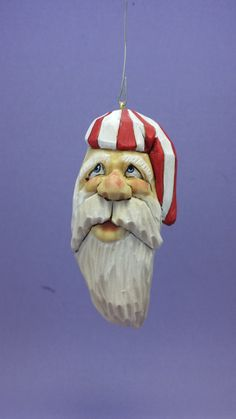 Hand carved Santa Claus with night cap Christmas tree ornament wood carving collectible Christmas decoration OOAK gift for him gift for her