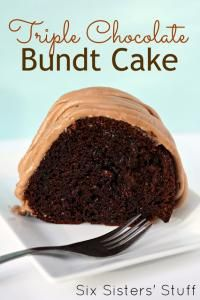 Six Sisters Triple Chocolate Bundt Cake Recipe is a moist bundt cake and loaded with chocolate flavor!