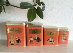 Vintage Soviet Metal Tin Box Polka Dot Made in USSR Kitchen Decor Russian Soviet Era Collectible Food Canisters Home Decore Set Of 4