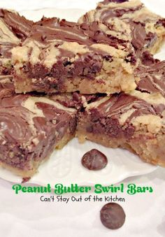 Peanut Butter Swirl Bars | Can't Stay Out of the Kitchen | our favorite #chocolatechip and #peanutbutter