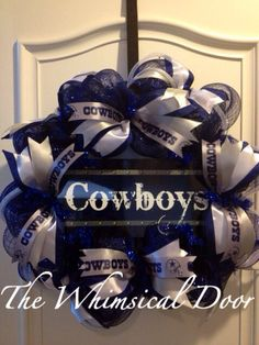 Dallas Cowboys NFL Silver Blue White Decomesh Wreath Mother's Day Father's Day on Etsy, $55.00