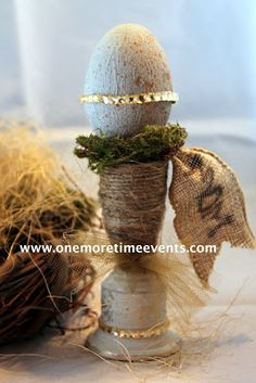 name tag using burlap ribbon and sharpie at One More Time Events.com