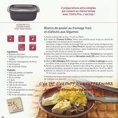 Recettes -Blanc de poulet au fromage frais et clafoutis aux légumes TUPPERWARE