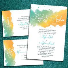 Custom Watercolor Wedding Invitations.