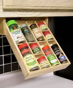 Under-the-Cabinet Spice Organizer. I love this idea for those spices you use every day.