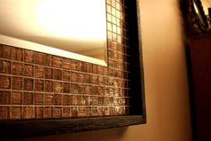 Iridescent Metallic Copper Glass Tile Framed Mirror, Java Finish, 21 x 21 - Handmade Mirror for the 1/2 bath