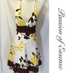♨️50% Sale♨️ Speechless White and Brown Sundress This adorable Speechless sundress has a tie around the neck, tie around the waist and a zipper in the back with lace around the bottom The patten is accent with brown, white and yellow the dress is comfortable and strapless. Machine washable or dry clean. 100%cotton in very good condition. 📌 Was $20 Now $10 Speechless Dresses Mini